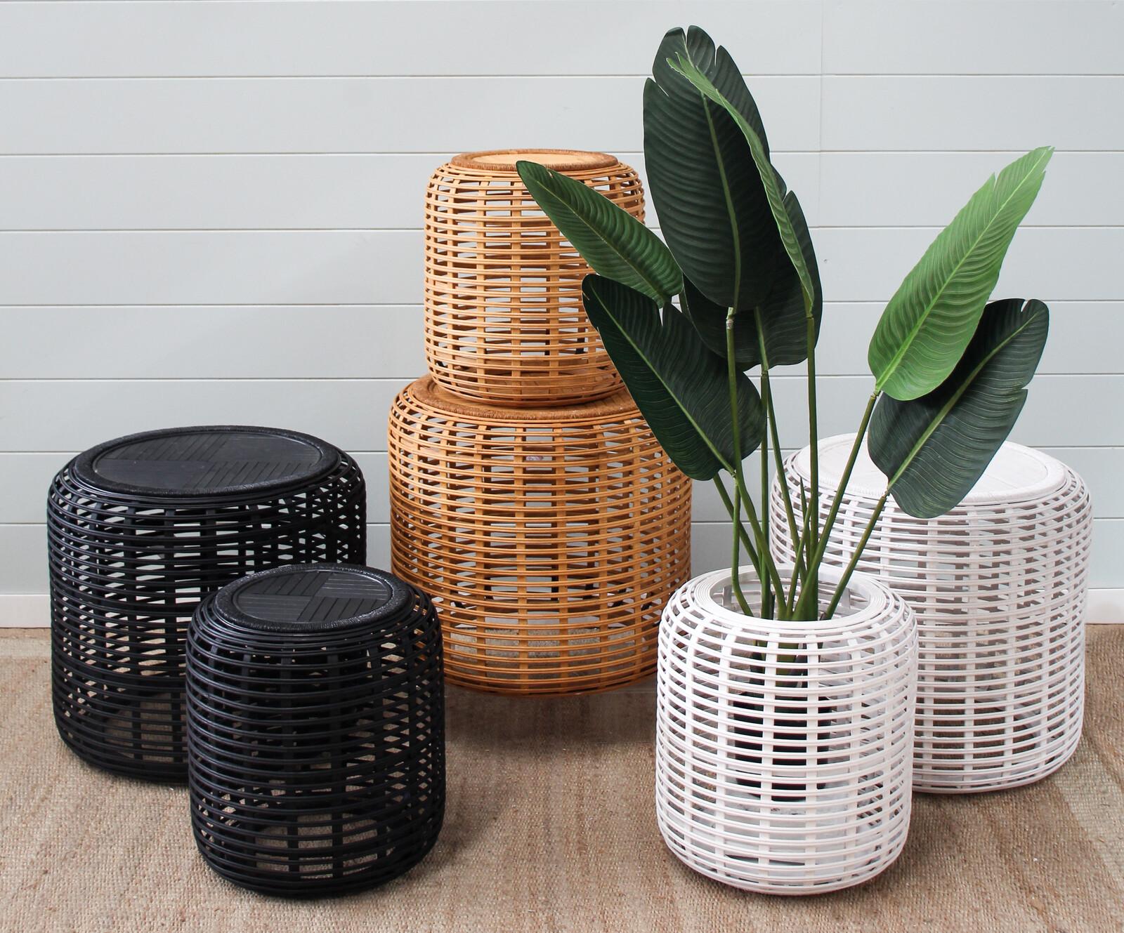 Drum Tables Bamboo Dark Natural Set/2