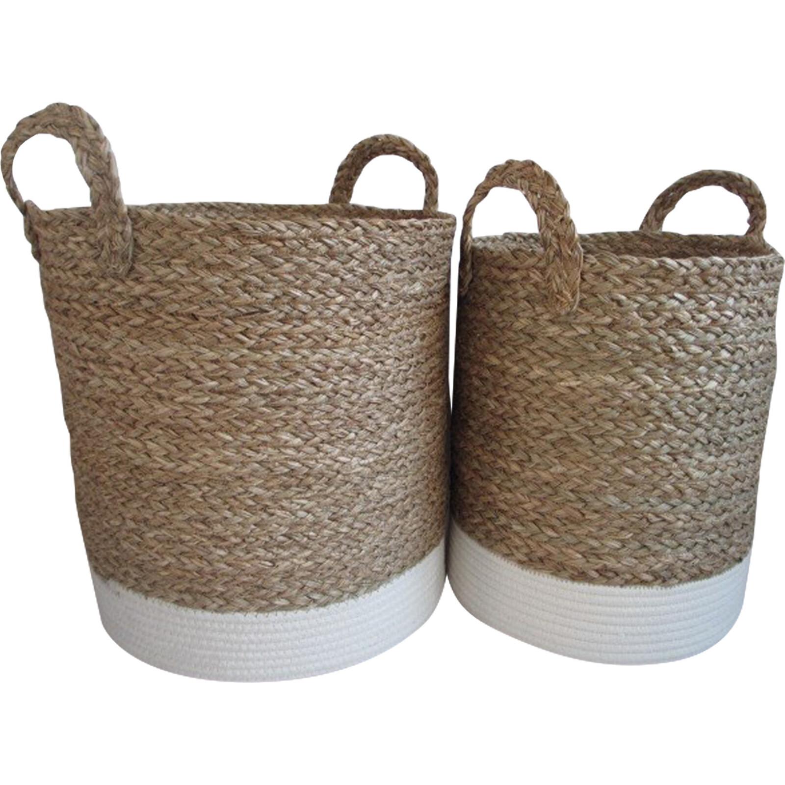 Basket/ Planter White Base S/2