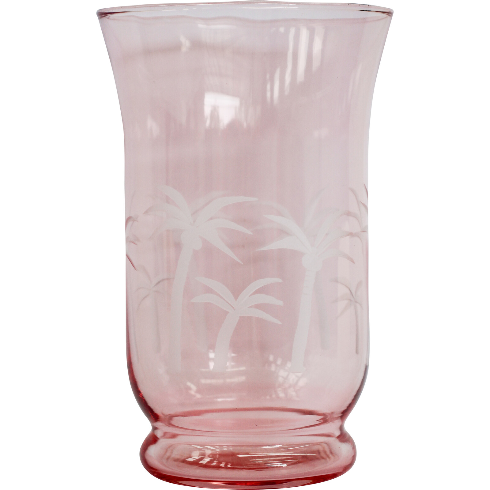 Glass Candle Holder Palm Peach