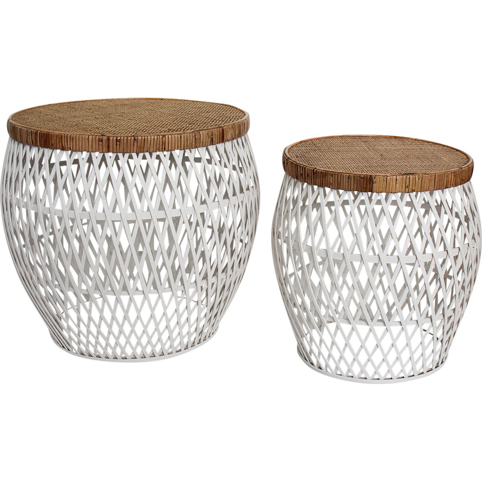 Tables S/2 Portland Rattan Nat/Wh