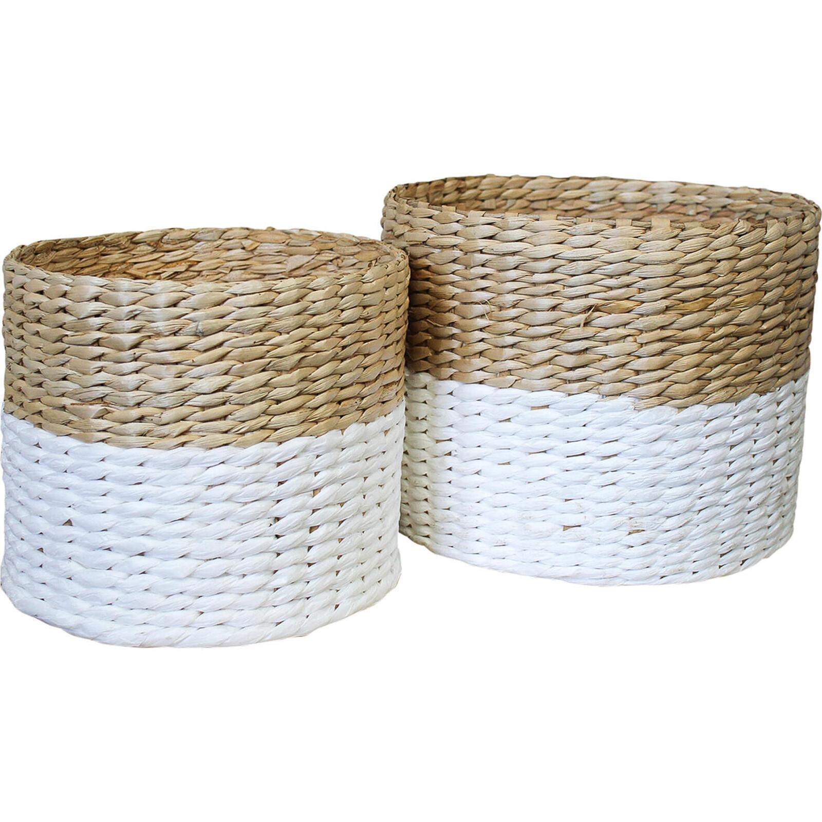 Basket Woven Tub White S/2