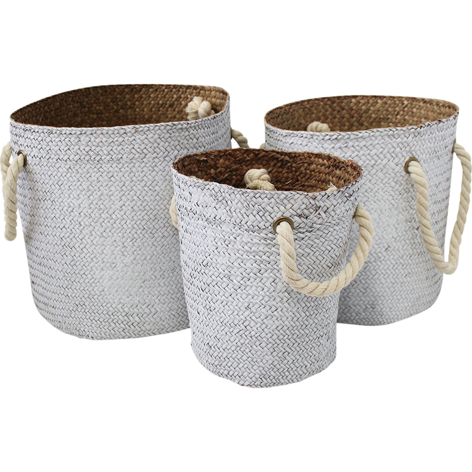 Woven Tubs S/3 Rope Handle White/Nat