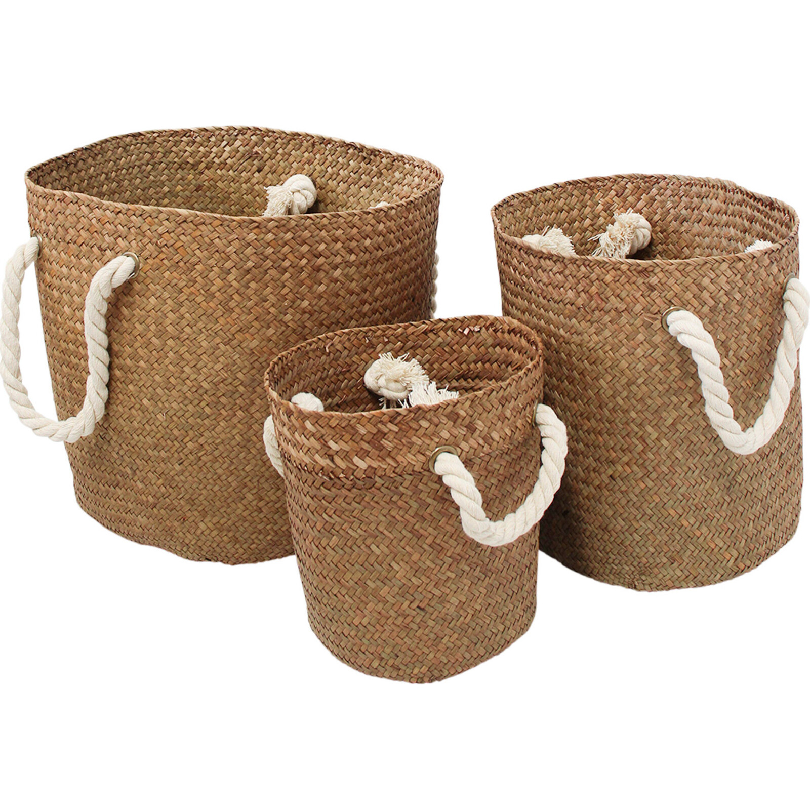 Woven Baskets S/3 Rope Handle