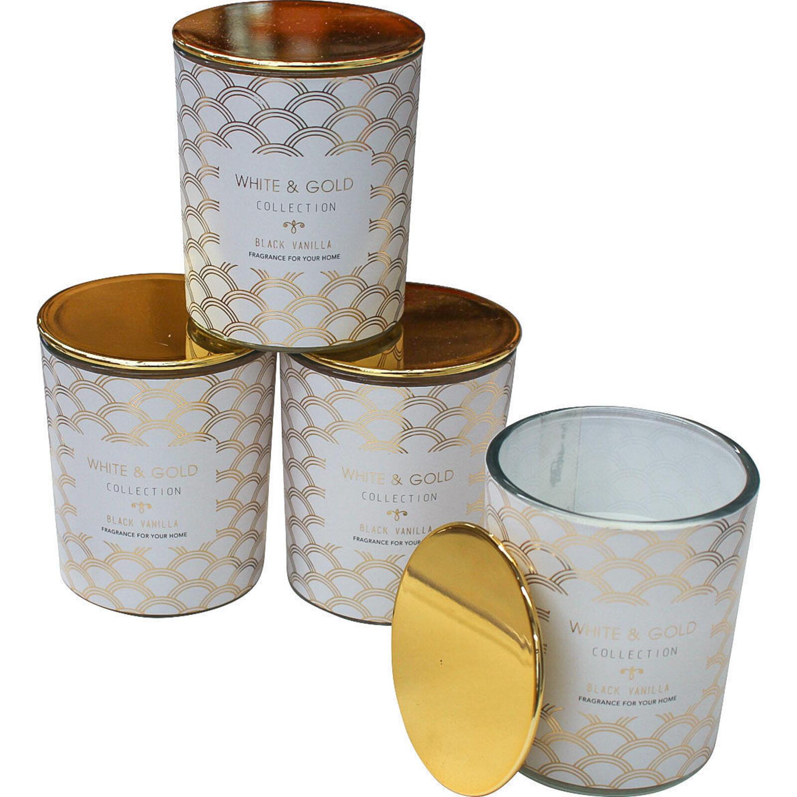 Candle White & Gold Vanilla Sml
