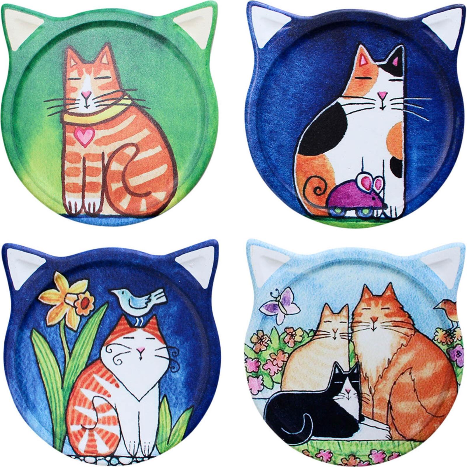 Coasters Cat Paintings Asstd