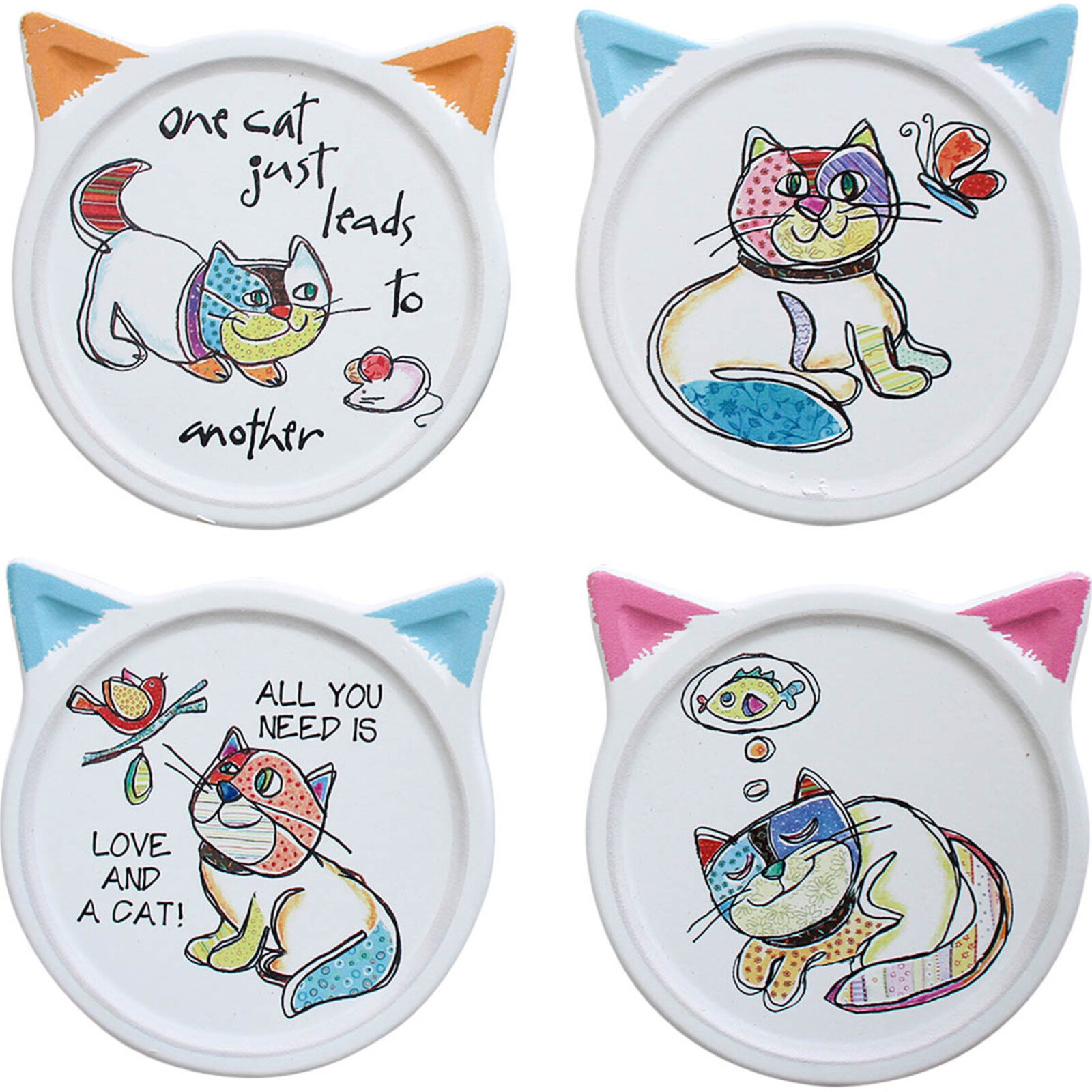 Coasters Quirky Cats Asstd