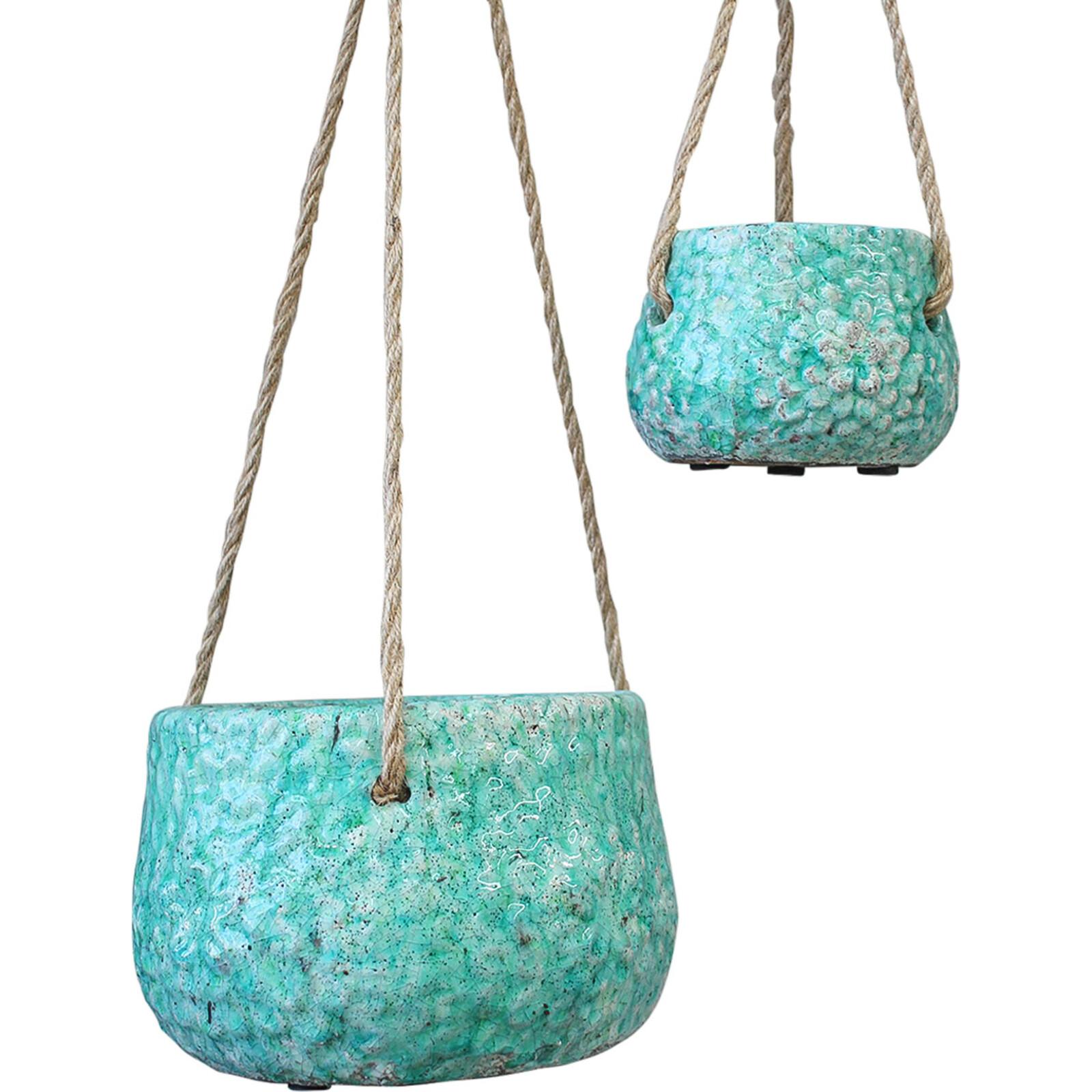Hanging Pot S/2 Flower Emerald