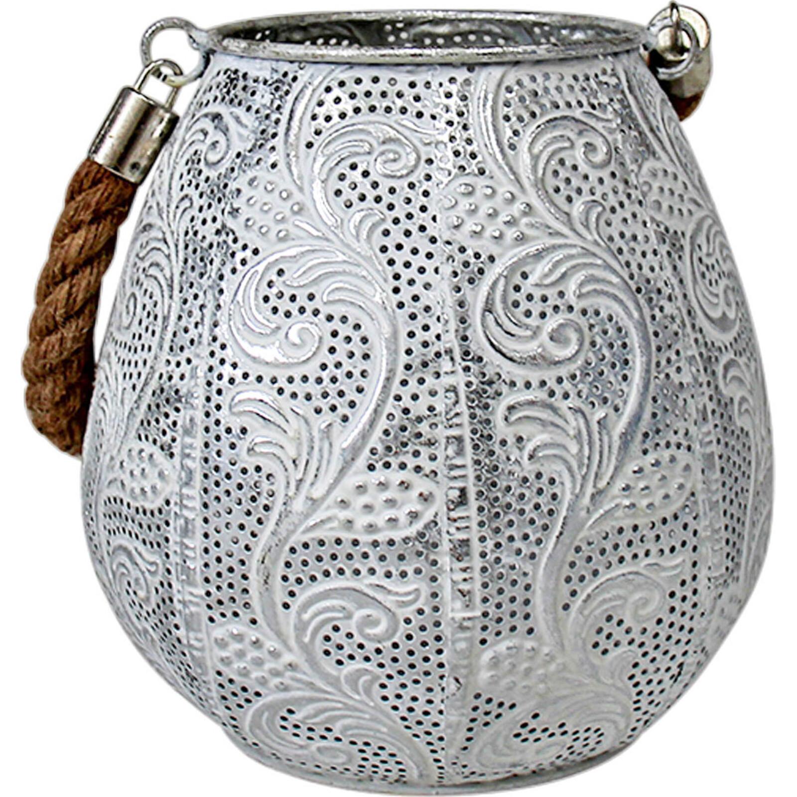 Lantern White w/ Rope Handle