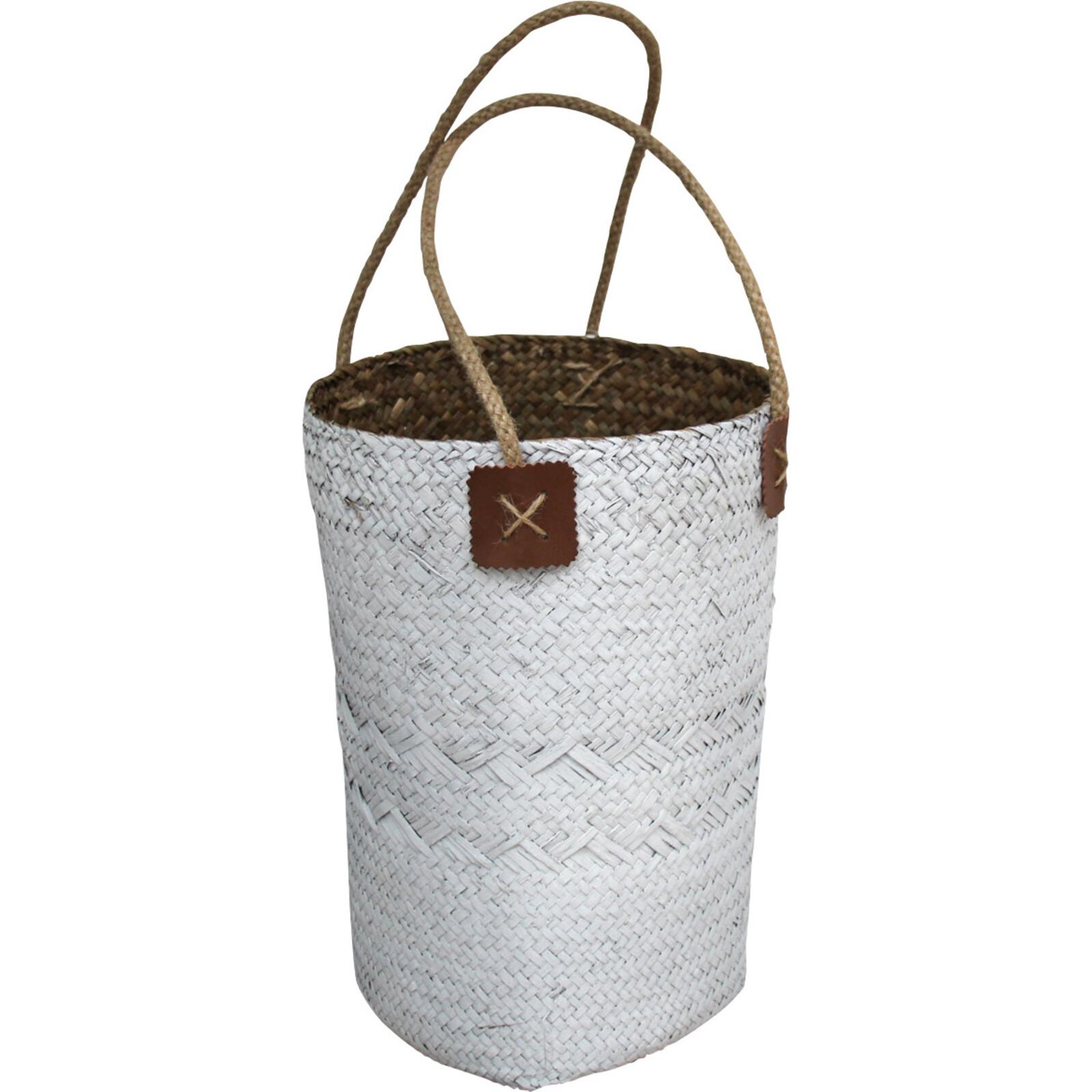Woven Planter/ Carry White