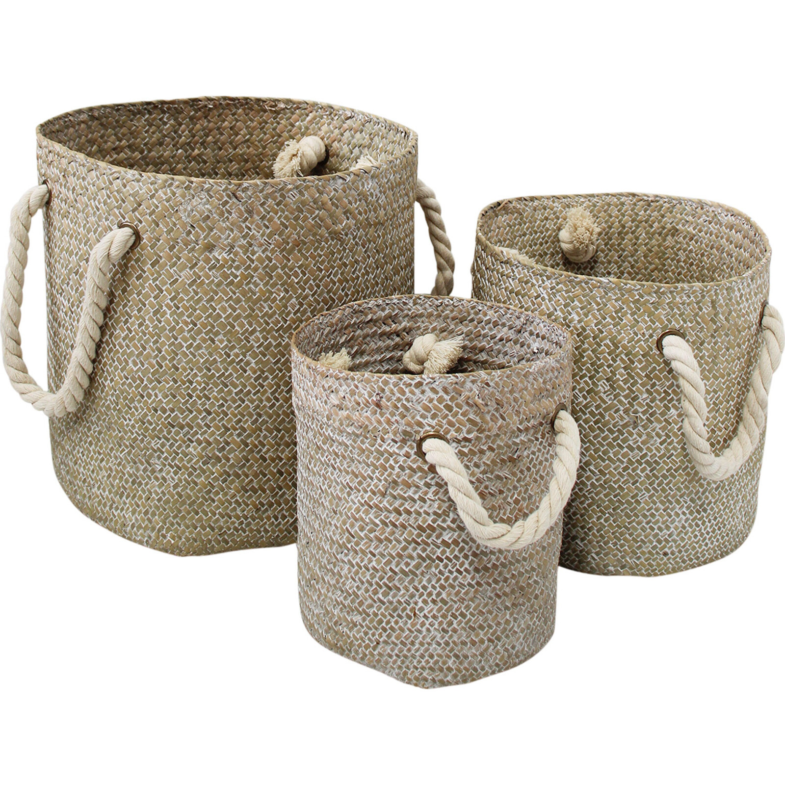 Woven Tubs S/3 Rope Handle Washed
