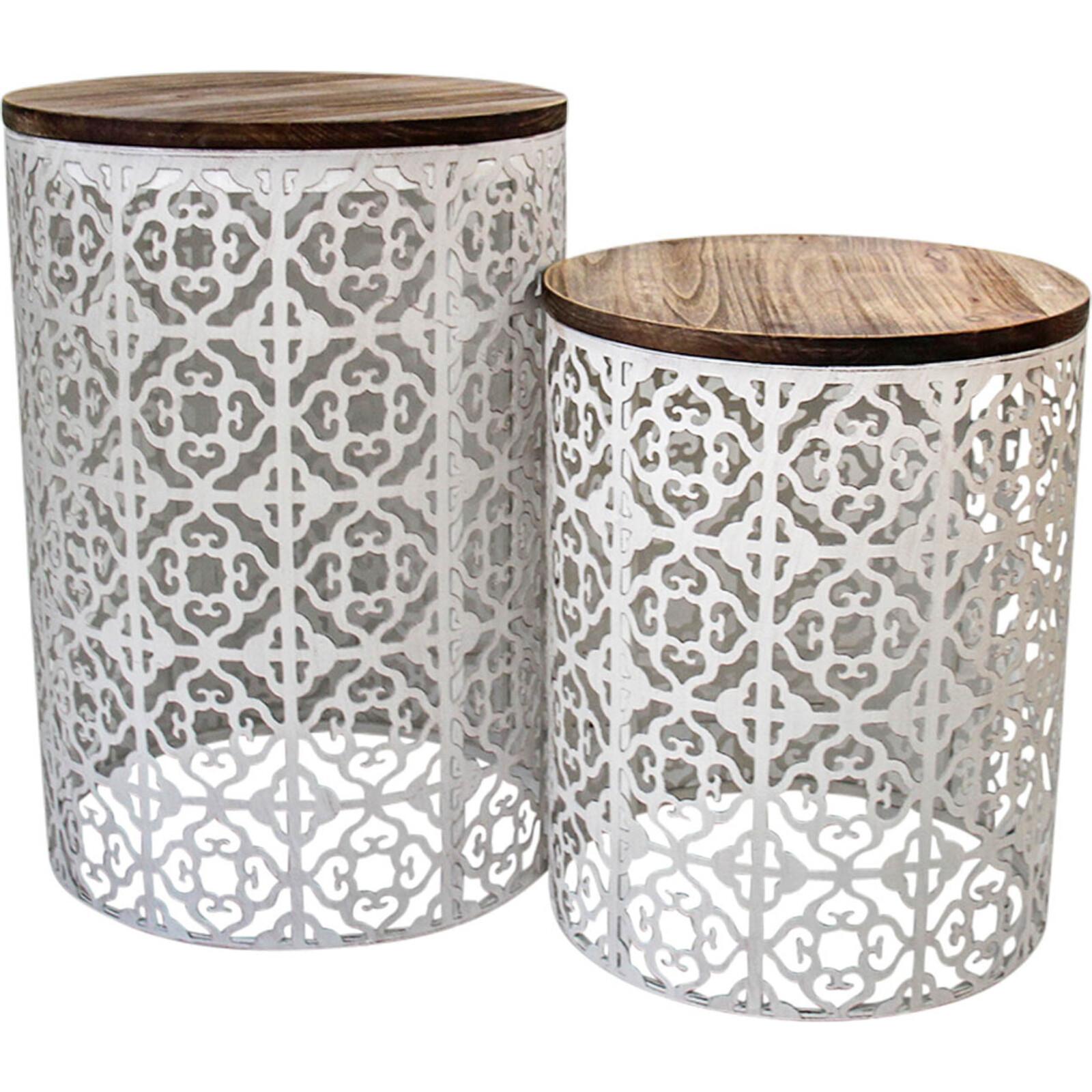 Drum Tables Moroc S/2 White