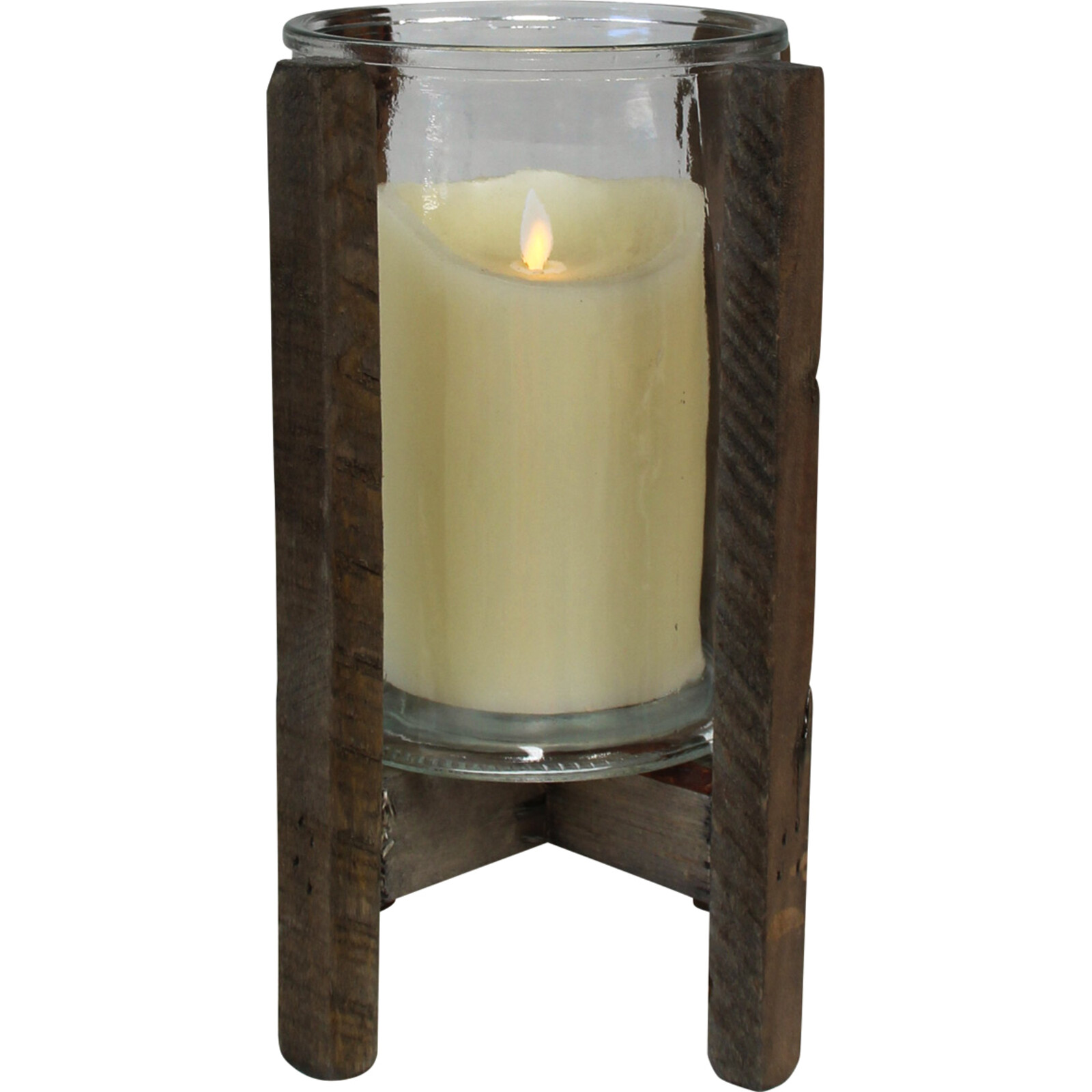 Candleholder Rustic Glass Lrg