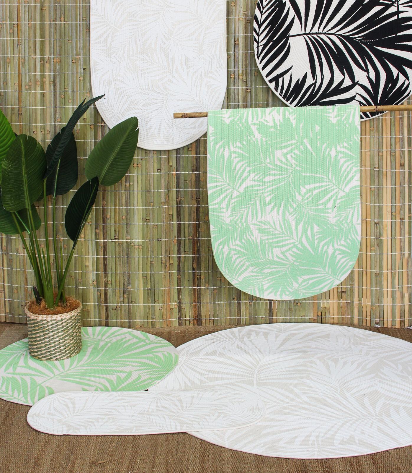 Floor Mat Leaf White 120cm