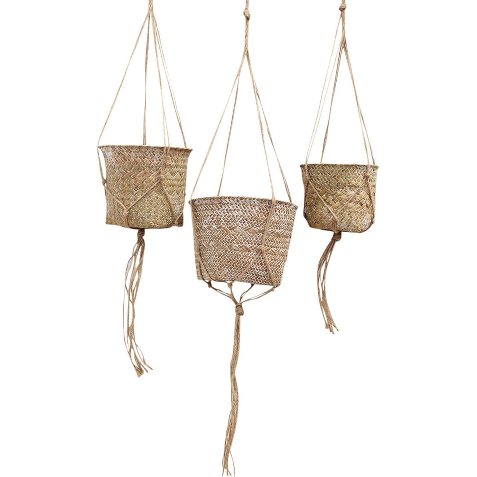 Woven Basket Rope Hanger S/3