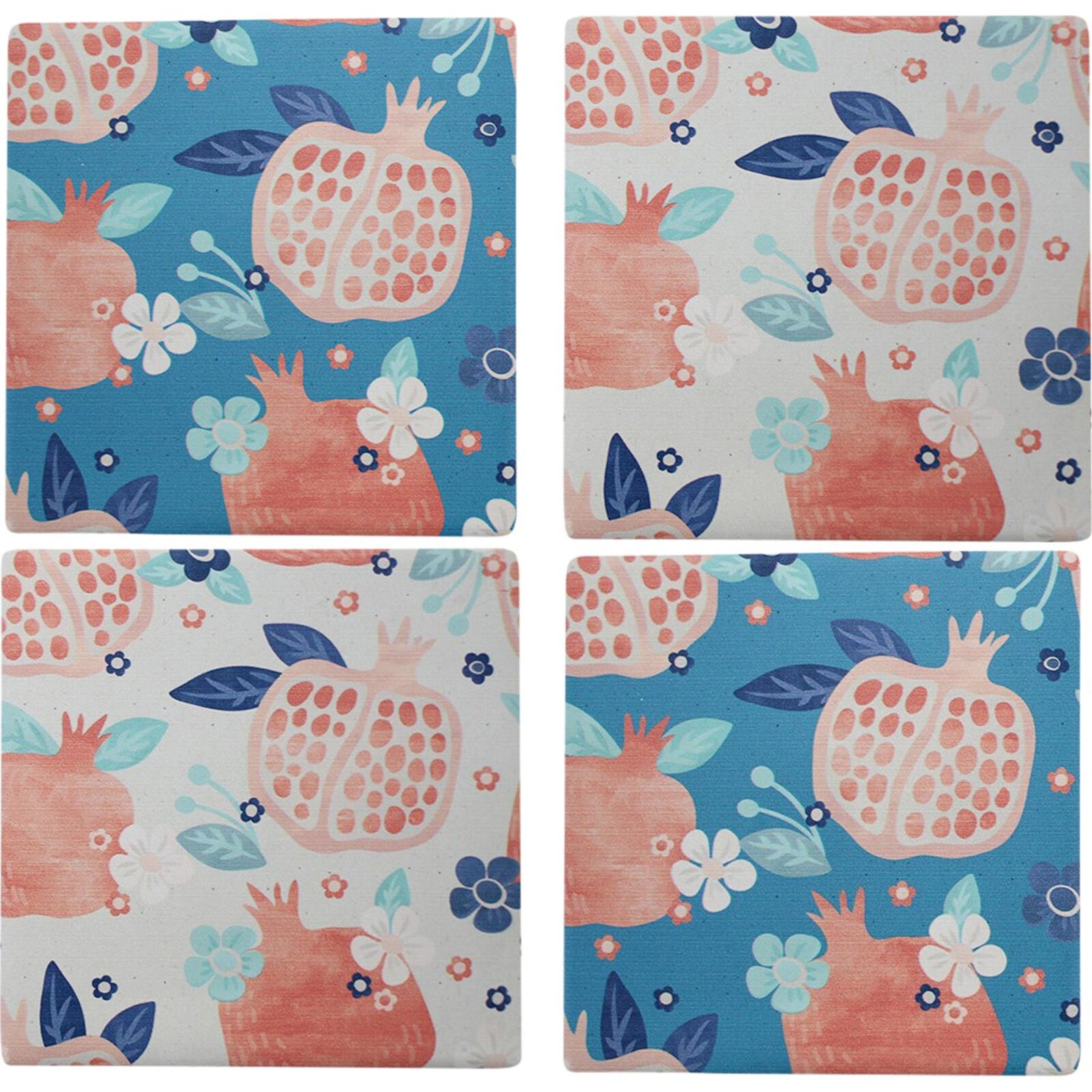 Coasters Abstract Pomergranate S/4