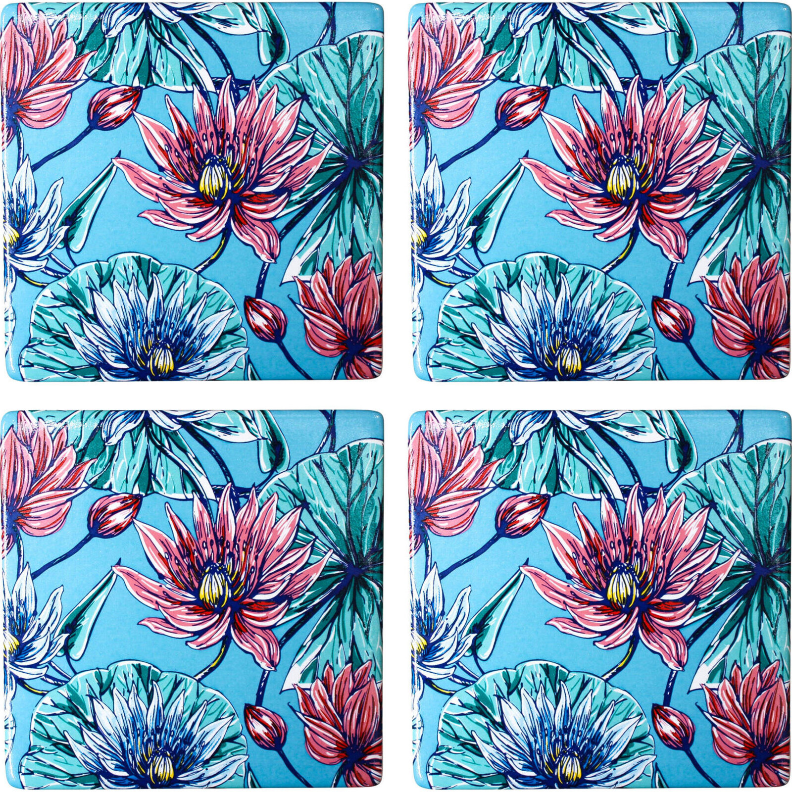 Coasters Blue Lily S/4