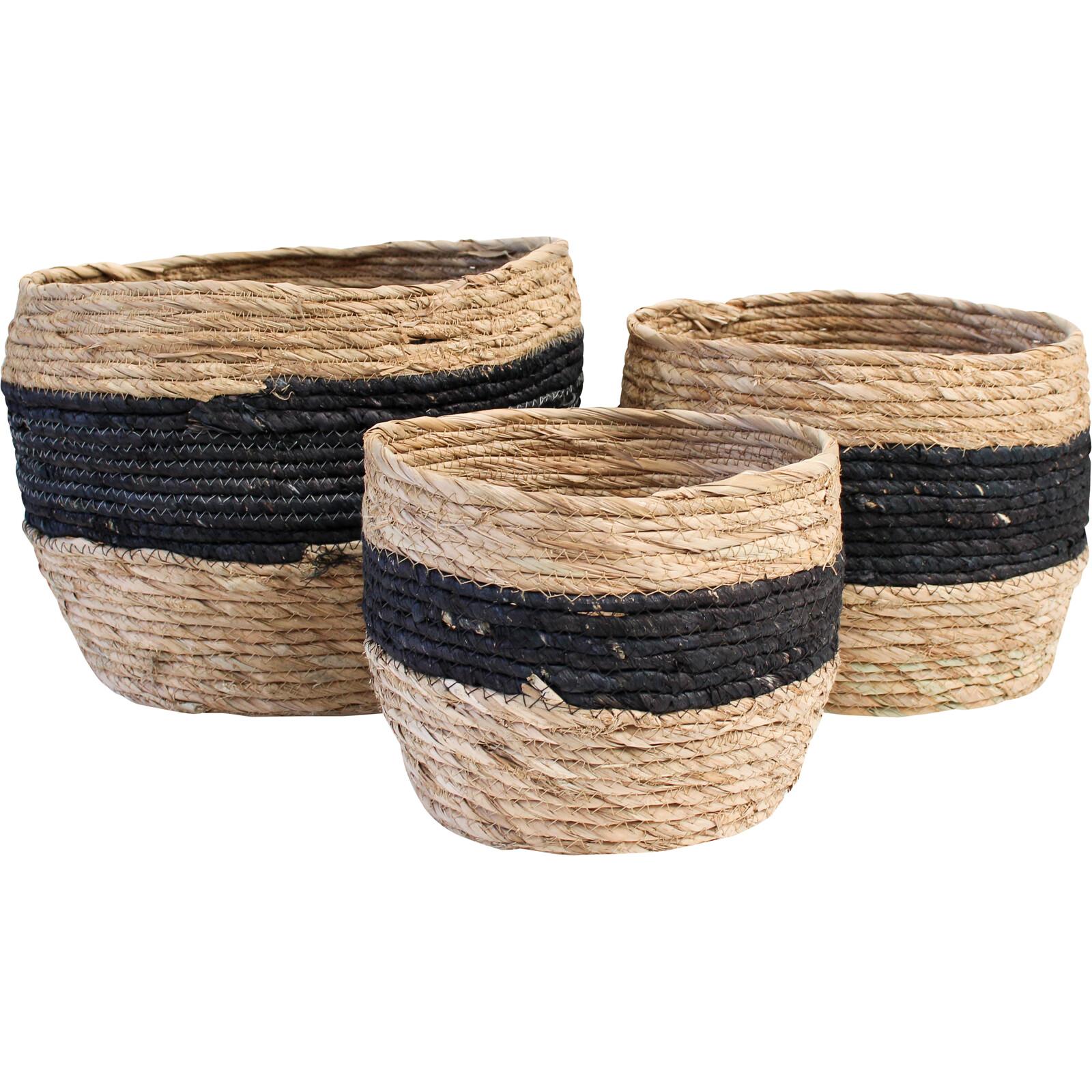 Basket/Planter Banded Jet S/3