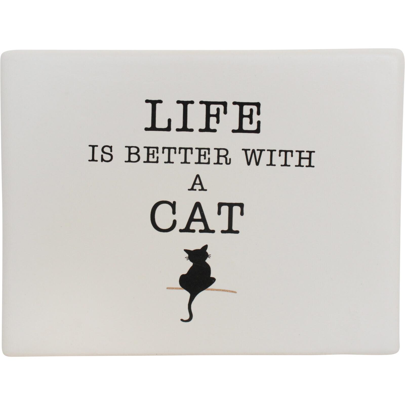 Ceramic Sign Life Cat