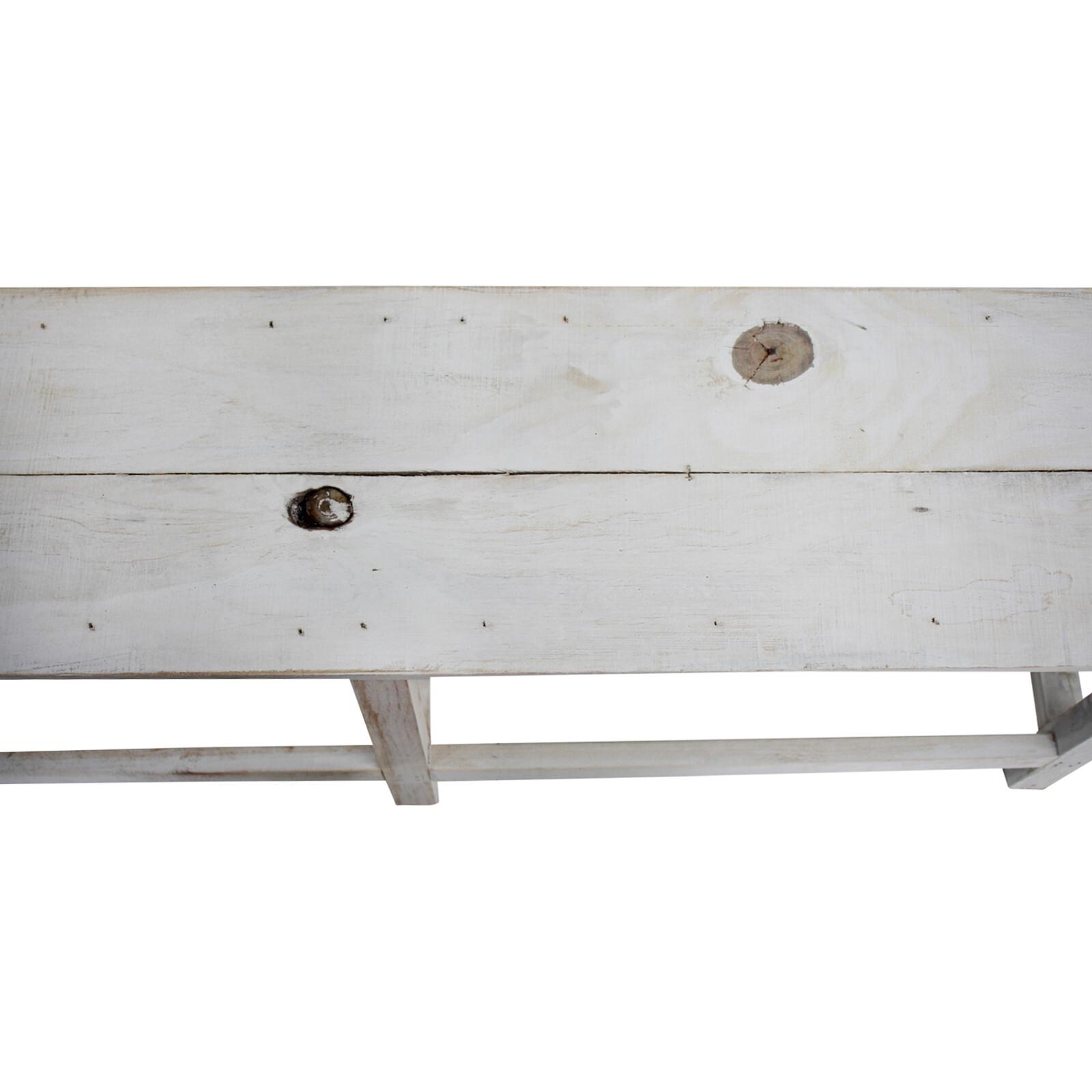 Long Bench White Wash