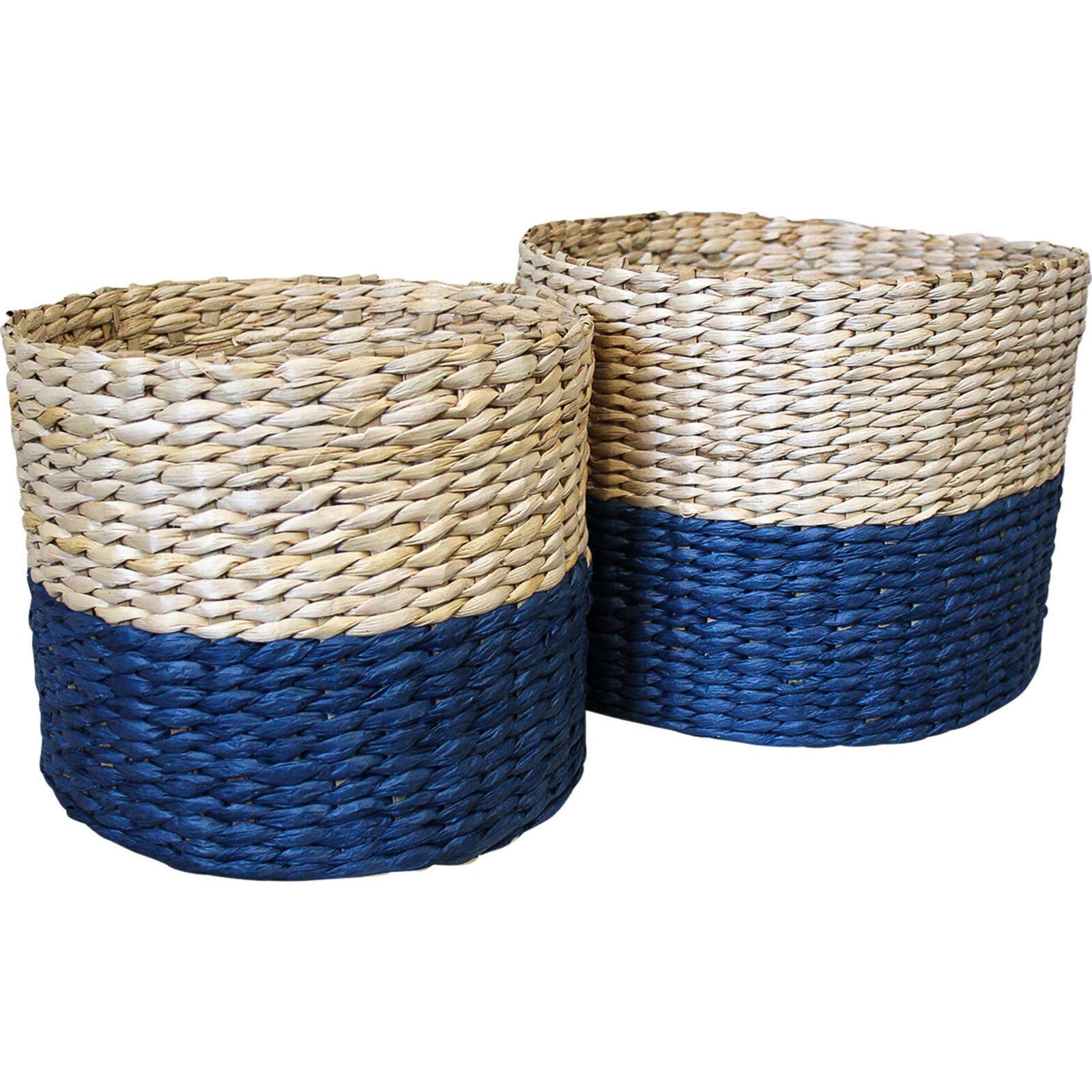 Basket Woven Tub Navy S/2