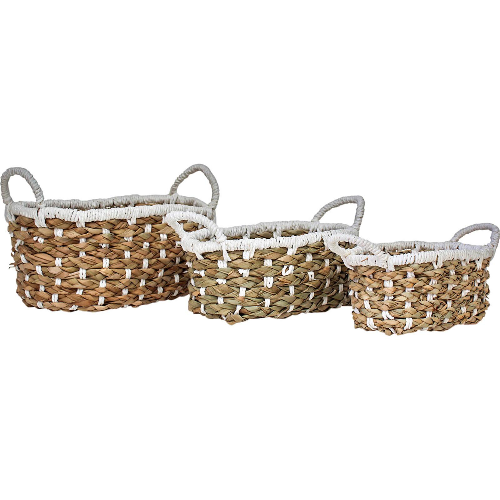 Woven Oval Storage Tubs Nat/White S/2